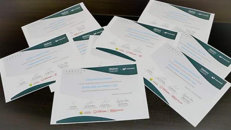 Entregaron certificados de los cursos de capacitación online realizados en Angaco