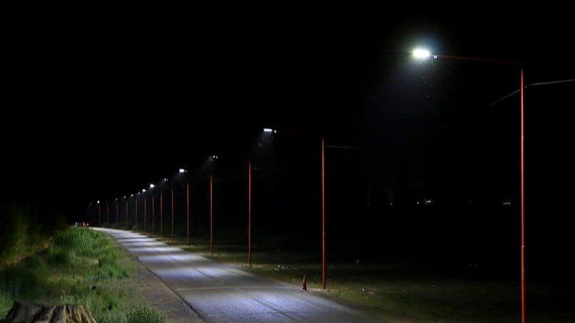 Angaco: iluminaron con LED la calle Divisoria