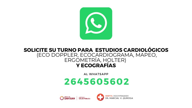 El Hospital Marcial Quiroga incorpora una línea de WhatsApp para sacar turno