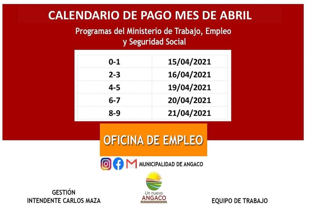 Angaco dio a conocer las fechas de pago de este mes