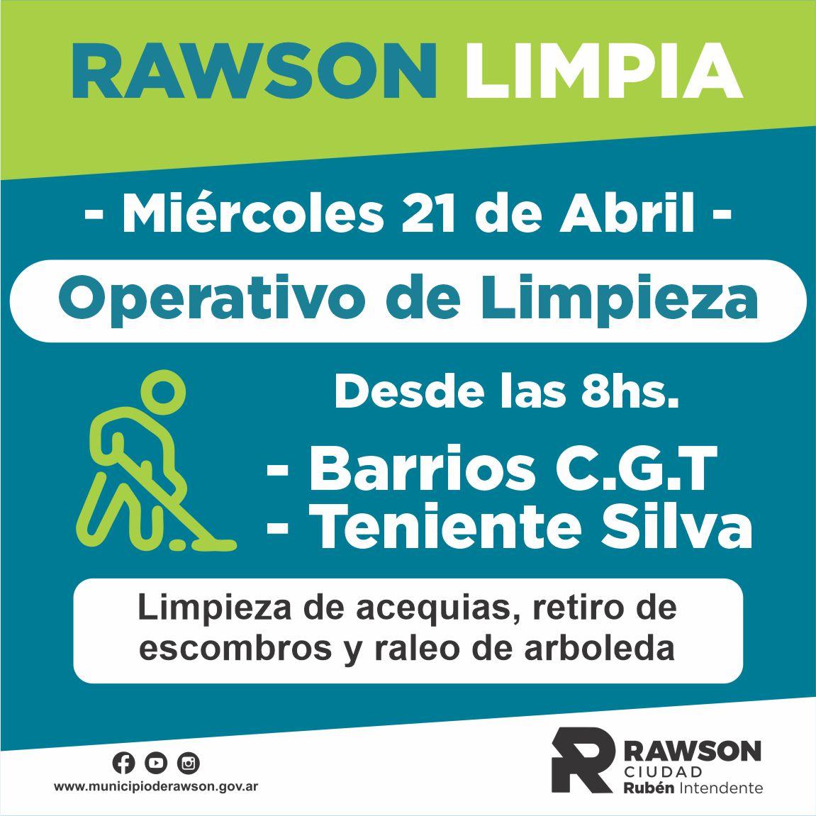 Operativo de limpieza en Rawson