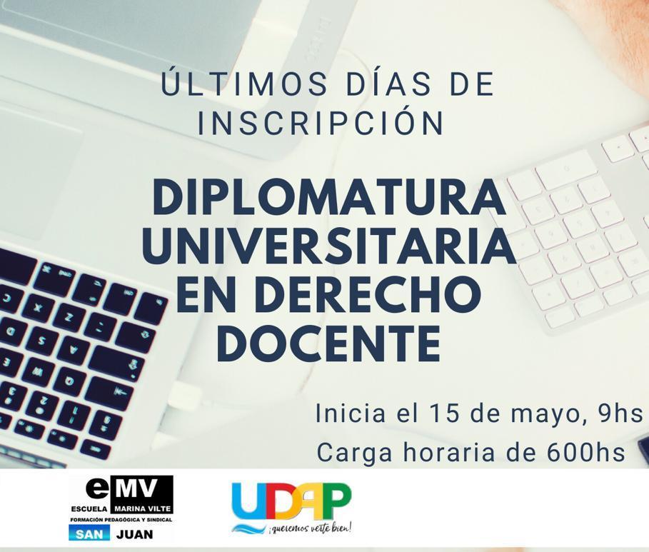 Últimos días para la Diplomatura Universitaria en Derecho Docente