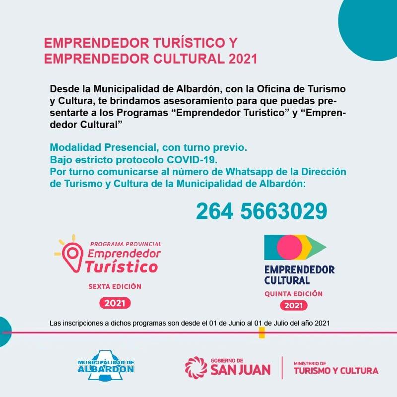 """Albardón brindará asesoramiento para quienes se presenten a los programas """"Emprendedor Turístico y Cultural"""""""