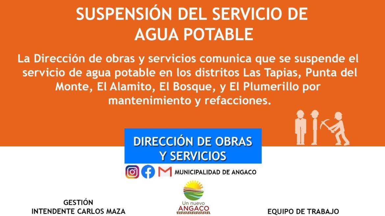 Angaco: suspenderán el servicio de agua potable