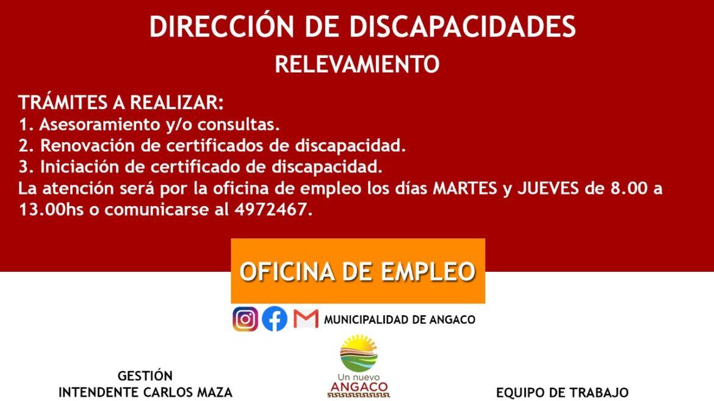 Relevamiento de la Dirección de Discapacidades de Angaco
