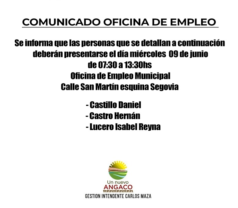 Angaco convoca a presentarse a la Oficina de Empleo
