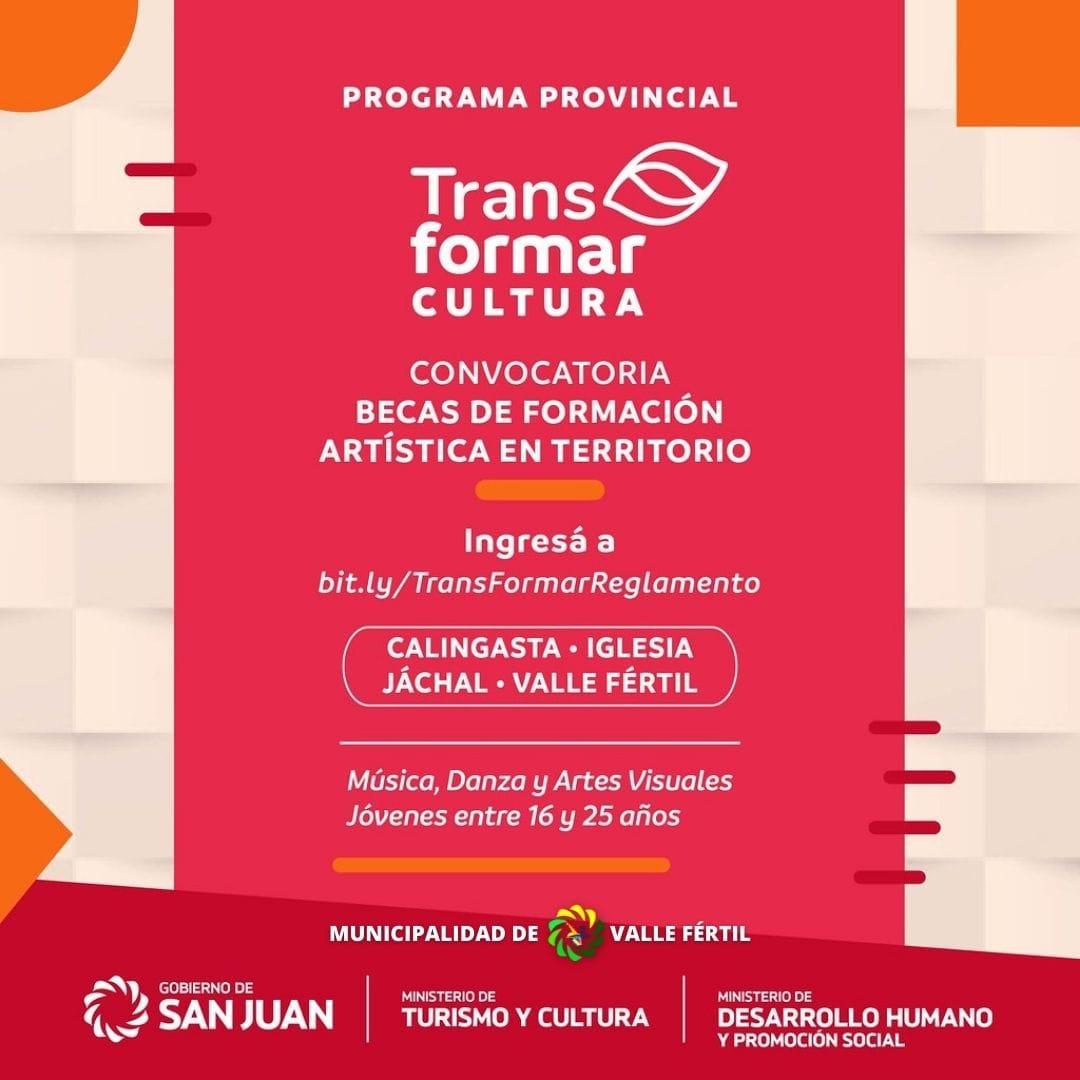 """Abrieron las inscripciones  para el programa """"TransFormar Cultura"""" en Valle Fértil"""